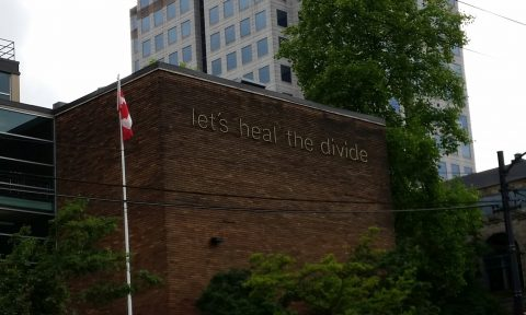 Image of slogan on building