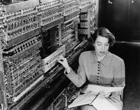 Woman with first computer